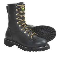 "John Deere Footwear 9"" Logger Work Boots - Waterproof, Leather (For Men) in Black - Closeouts"