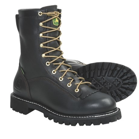 "John Deere Footwear 9"" Logger Work Boots - Waterproof, Leather (For Men) in Black"
