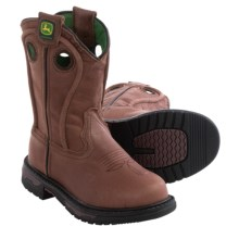 John Deere Footwear Cowboy Boots - Leather, Round Toe (For Little Kids) in Brown Copper - Closeouts