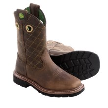 John Deere Footwear Cowboy Boots - Leather, Square Toe (For Toddlers) in Brown - Closeouts