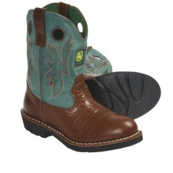 John Deere Footwear Croco Print Cowboy Boots (For Youth Boys and Girls) in Tobacco/Green