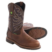 John Deere Footwear EH Cowboy Work Boots - Waterproof, Leather, Steel Toe (For Men) in Brown - Closeouts