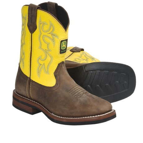 John Deere Footwear Growing Like a Weed Cowboy Boots - Leather (For Boys and Girls) in Brown/Yellow
