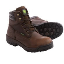 "John Deere Footwear JD6513 Leather Work Boots - Waterproof, 6"" (For Men) in Brown - Closeouts"