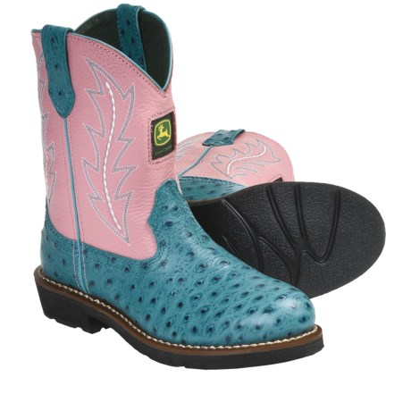 John Deere Footwear Johnny Popper Cowboy Boots - Ostrich Print (For Youth Girls) in Ocean Blue/Pink