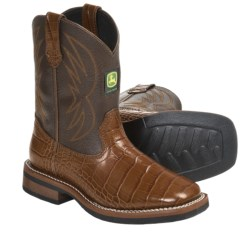 John Deere Footwear Johnny Popper Croc Print Cowboy Boots (For Youth Boys and Girls) in Tobacco/Brown