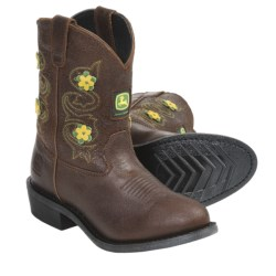 John Deere Footwear Johnny Popper Flower Accent Cowboy Boots - Suede (For Youth Girls) in Tan Flower