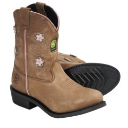 John Deere Footwear Johnny Popper Flower Accent Cowboy Boots - Suede (For Youth Girls) in Dark Brown Flower