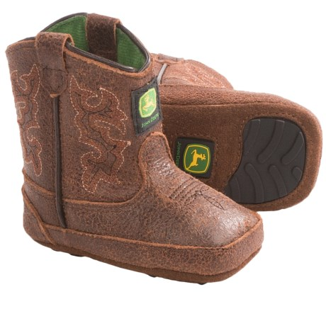 John Deere Footwear Johnny Poppers Cowboy Boots - Distressed Leather (For Infants) in Buffalo