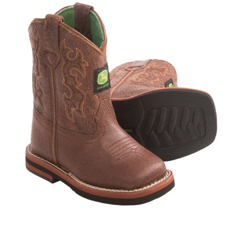 John Deere Footwear Johnny Poppers Cowboy Boots - Leather, Square Toe, Pull-Ons (For Toddlers) in Tan