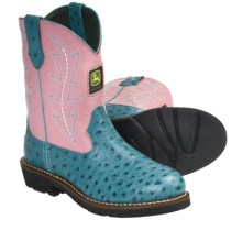 John Deere Footwear Johnny Poppers Cowboy Boots - Ostrich Print (For Youth Girls) in Ocean Blue/Pink - Closeouts
