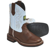 John Deere Footwear Johnny Poppers Cowboy Boots - Removable Insert (For Kids and Youth) in Brown/Blue - Closeouts