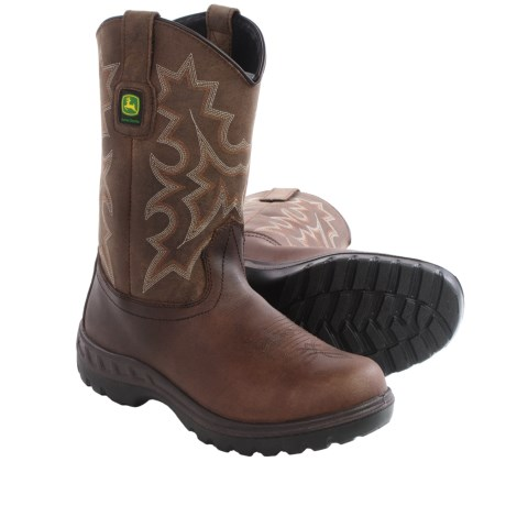 John Deere Footwear Leather Work Boots Steel Toe, 11 (For Men)