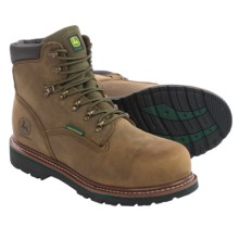 John Deere Footwear Leather Work Boots - Waterproof, Steel Toe (For Men) in Oak - Closeouts