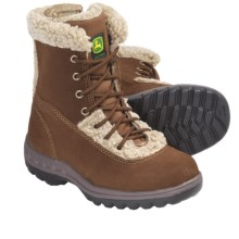 John Deere Footwear Suede Boots - Faux-Shearling Lined (For Kids and Youth) in Rust - Closeouts