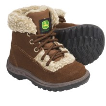 John Deere Footwear Suede Boots - Faux-Shearling Lining (For Infants) in Rust - Closeouts
