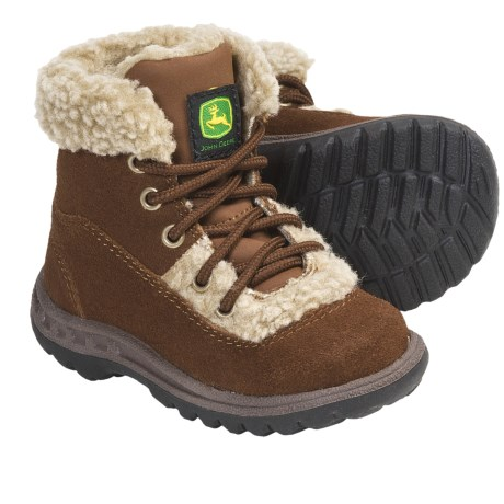 John Deere Footwear Suede Boots - Faux-Shearling Lining (For Infants) in Rust