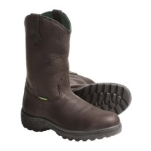 John Deere Footwear Wellington Work Boots - Tumbled Leather (For Men) in Bark - Closeouts