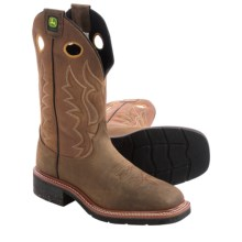 John Deere Footwear Work Cowboy Boots - Leather, Square Toe (For Men) in Dark Khaki - Closeouts