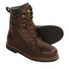 John Deere Steel-Toe Work Boots - Leather (For Men) in Dark Brown - Closeouts
