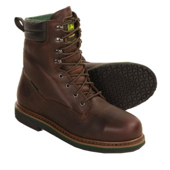 John Deere Steel-Toe Work Boots - Leather (For Men) in Dark Brown