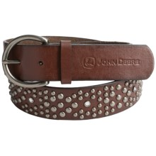 John Deere Studded Leather Belt (For Women) in Brown - Closeouts