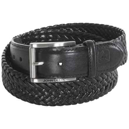 John Deere Woven Leather Stretch Belt (For Men) in Black - Closeouts