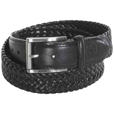 John Deere Woven Leather Stretch Belt (For Men) in Black - Closeouts