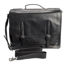 John Varvatos Italian Leather Artisan Gusseted Briefcase in Black - Closeouts