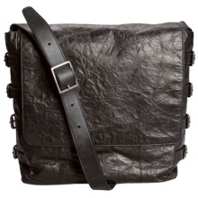John Varvatos Richards Leather Messenger Bag in Black - Closeouts