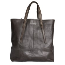 John Varvatos Richards Leather Shopping Tote Bag in Chocolate - Closeouts