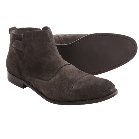 John Varvatos Star USA Buck Zip Boots (For Men) in Black Sand Calf W/ Crème