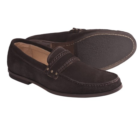 John Varvatos Star USA Madison Stud Loafer Shoes - Suede (For Men) in Espresso Suede