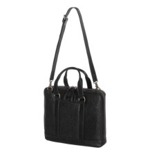 John Varvatos Star USA Milano Leather Attache Bag in Black - Closeouts