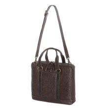 John Varvatos Star USA Milano Leather Attache Bag in Chocolate - Closeouts