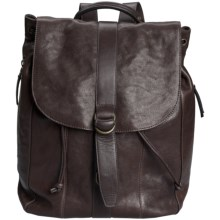 John Varvatos Star USA Milano Leather Backpack in Chocolate - Closeouts