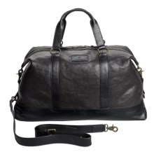 John Varvatos Star USA Milano Leather Duffel Bag in Black - Closeouts