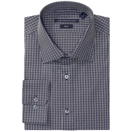 John Varvatos Star USA Mini Check Dress Shirt - Slim Fit, Long Sleeve (For Men) in Jet Black