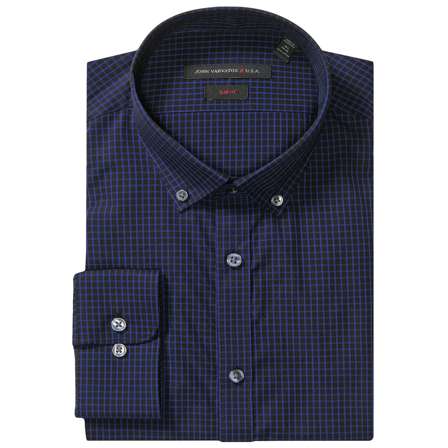 Ink Blue Color Dress Slim fit check dress shirt