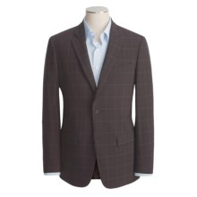 John Varvatos Star USA Waffled Windowpane Sport Coat - Leather Trim (For Men) in Dark Brown - Closeouts