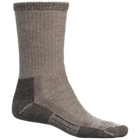 John Wayne Elite Hiker Socks - Merino Wool, Crew (For Men and Women) in Brown