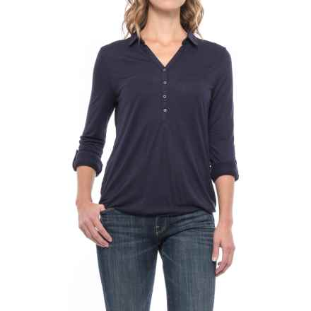 Johnny Collar Shirt - Long Sleeve (For Women) in Navy - 2nds