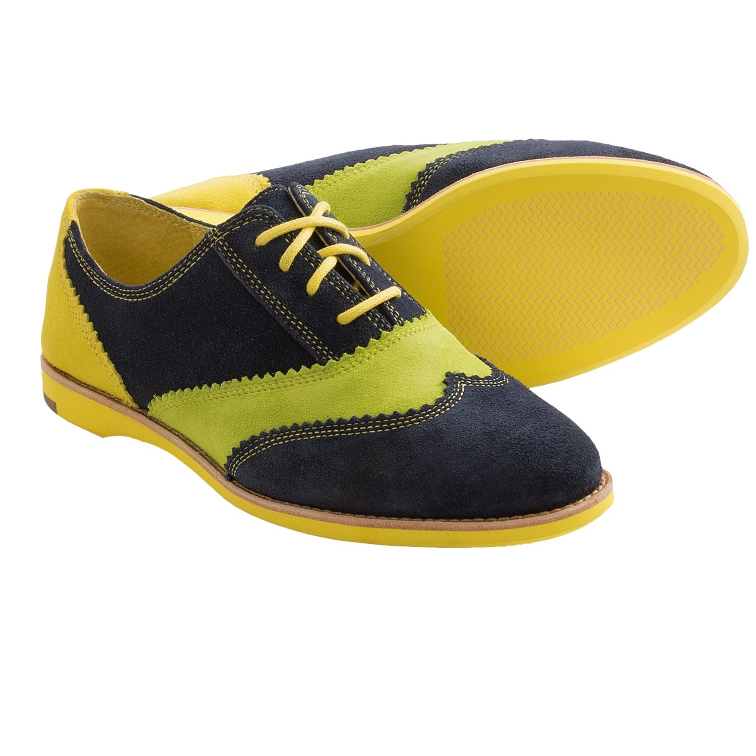 amp; Murphy Belinda Wingtip Oxford Shoes (For Women) in Navy/Kiwi/Lemon