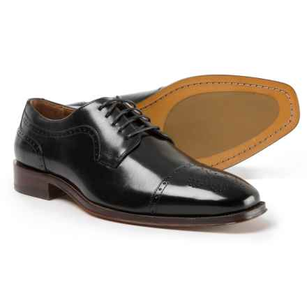 Johnston & Murphy Boydstun Cap-Toe Oxford Shoes -  Italian Leather (For Men) in Black - Closeouts