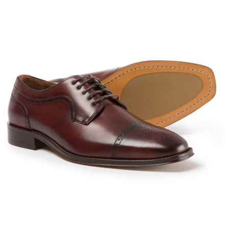 Johnston & Murphy Boydstun Cap-Toe Oxford Shoes -  Italian Leather (For Men) in Mahogany - Closeouts