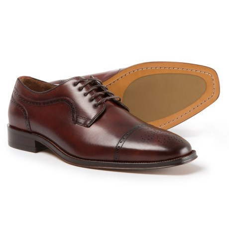 Johnston & Murphy Boydstun Cap-Toe Oxford Shoes -  Italian Leather (For Men) in Mahogany