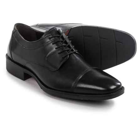 Johnston & Murphy Landrum Cap-Toe Shoes - Leather, Lace-Ups (For Men) in Black - Closeouts