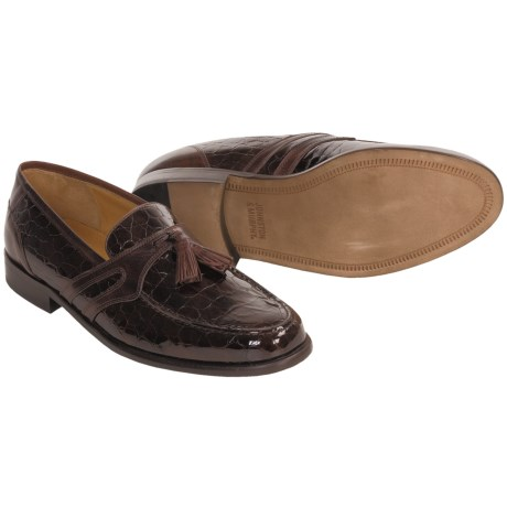 Johnston & Murphy Mixon Tassel Dress Shoes - Crocodile-Embossed Loafers (For Men) in Mahogany