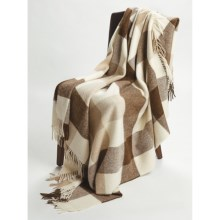 Johnstons of Elgin Alpaca-Lambswool Throw Blanket - Limited Edition, Block Check in Natural - Closeouts
