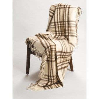 Johnstons of Elgin Alpaca-Lambswool Throw Blanket - Limited Edition, Plaid in Natural